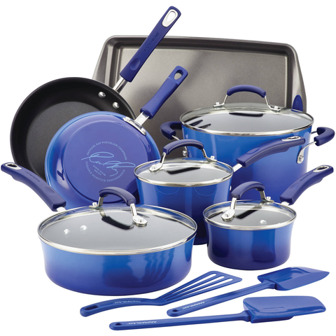 RACHAEL RAY PROCELAIN II 14-PIECE COOKWARE SET - BLUE GRADIENT