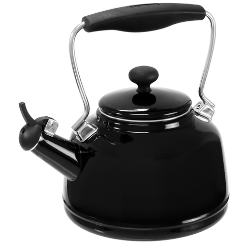 CHANTAL 1.7-QUARTS ENAMEL-ON-STEEL VINTAGE TEAKETTLE - BLACK