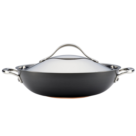 ANOLON 12-INCH COVERED WOK, GRAY