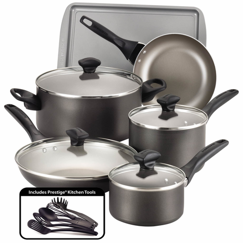FARBERWARE 15-PIECE COOKWARE SET, PEWTER