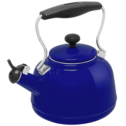 CHANTAL 1.7-QUARTS ENAMEL-ON-STEEL VINTAGE TEAKETTLE - COBALT BLUE