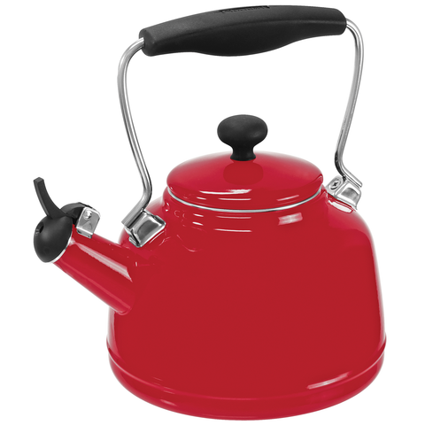 CHANTAL 1.7-QUARTS ENAMEL-ON-STEEL VINTAGE TEAKETTLE - RED