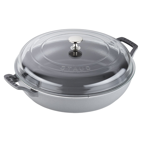 STAUB CAST IRON 3.5-QUART BRAISER WITH GLASS LID - GRAPHITE GREY
