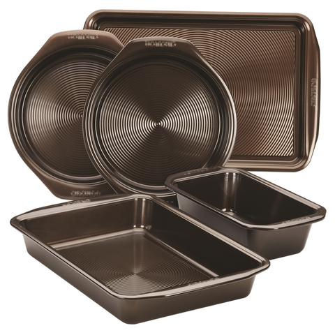 CIRCULON 5-PIECE BAKEWARE SET, CHOCOLATE BROWN