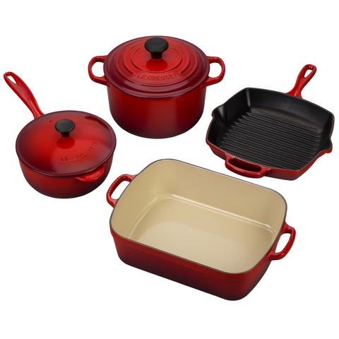 LE CREUSET 6-PIECE SIGNATURE SET - CERISE