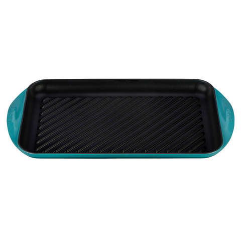 Le Creuset Enameled Cast Iron Double Burner Grill, X-Large, Caribbean