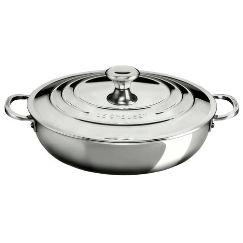 LE CREUSET 5-QUART STAINLESS STEEL BRAISER