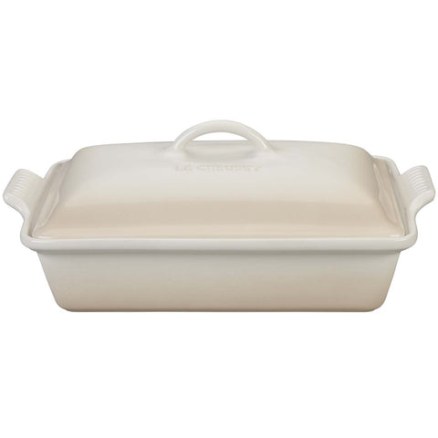 LE CREUSET 12'' X 9'' HERITRAGE COVERED RECTANGULAR CASSEROLE - MERINGUE