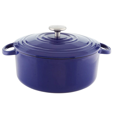 Chantal Round Cast Iron 5-Quart Casserole - Cobalt Blue