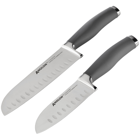 ANOLON 2-PIECE SANTOKU KNIFE SET WITH SHEATHS, GRAY