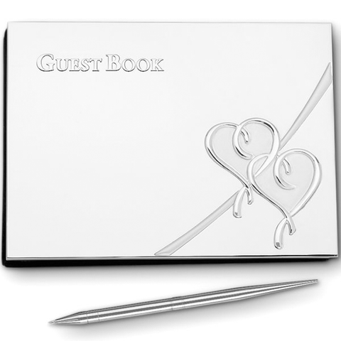LENOX TRUE GUESTBOOK WITH PEN SILVERPLATE