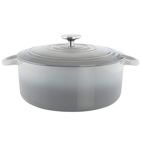 Chantal Round Cast Iron 7-Quart Casserole - Fade Grey