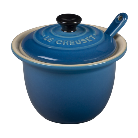 Le Creuset Stoneware Condiment Pot with Spoon, 6 3/4-Ounce, Marseille