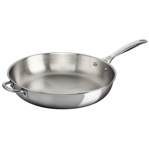 "LE CREUSET 12.5"" STAINLESS STEEL DEEP FRY PAN WITH  HELPER HANDLE"