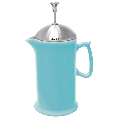 CHANTAL 28-OUNCE CERAMIC FRENCH PRESS W/ SS PLUNGER - AQUA