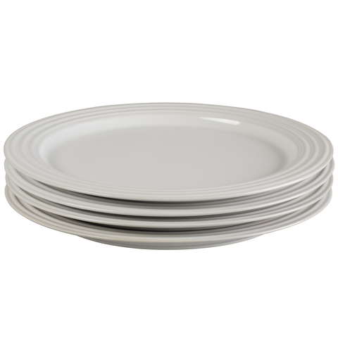LE CREUSET 10 1/2'' DINNER PLATES, SET OF 4 - WHITE