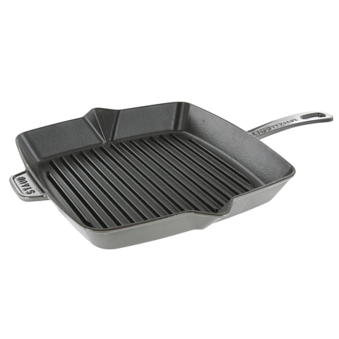 STAUB CAST IRON 12'' SQUARE GRILL PAN - GRAPHITE GREY