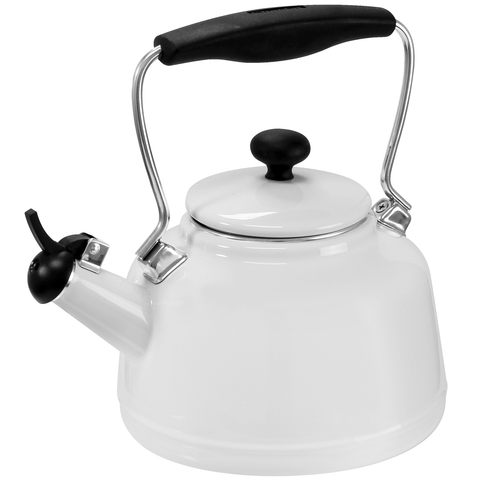 CHANTAL 1.7-QUARTS ENAMEL-ON-STEEL VINTAGE TEAKETTLE - WHITE