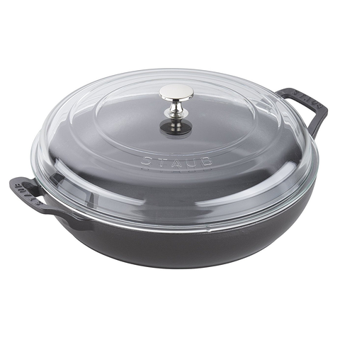 STAUB CAST IRON 3.5-QUART BRAISER WITH GLASS LID - MATTE BLACK