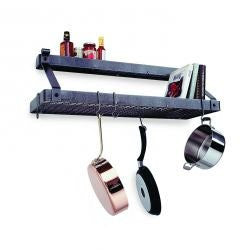 Enclume Premier Deep Bookshelf Wall Pot Rack, Stainless Steel