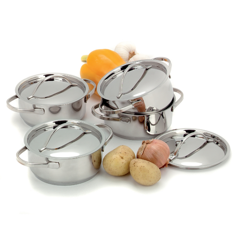 DEMEYERE RESTO 4-PIECE STAINLESS STEEL MINI DUTCH OVEN SET