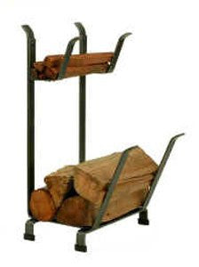 Enclume Country Home Log Rack with Kindling Holder, Hammered Steel