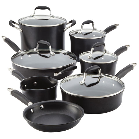 ANOLON 12-PIECE COOKWARE SET - BLACK