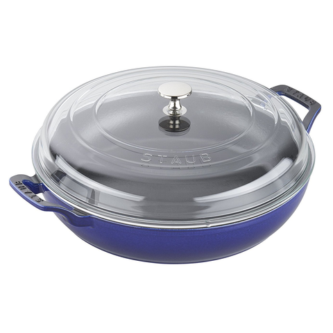 STAUB CAST IRON 3.5-QUART BRAISER WITH GLASS LID - DARK BLUE