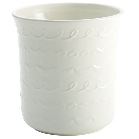 CAKE BOSS CERAMIC TOOL CROCK WITH '' ICING'' PATTERN - WHITE