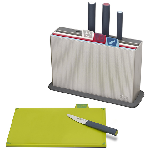 JOSEPH JOSEPH INDEX™ WITH KNIVES COLOURED-CODED CHOPPING BOARD AND KNIFE SET