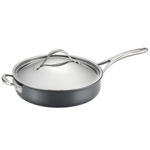 ANOLON 5-QUART COVERED SAUTE WITH HELPER HANDLE, GRAY