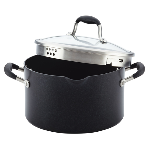 ANOLON 6-QUARTS COVERED STOCKPOT - ONYX