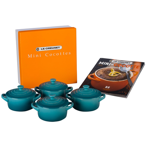 LE CREUSET MINI COCOTTES SET WITH COOKBOOK - CARIBBEAN