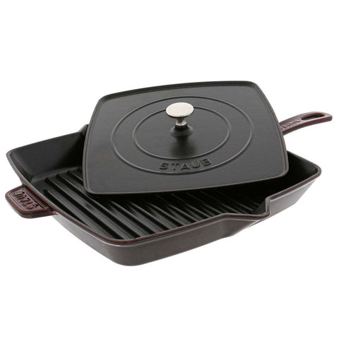 Staub Cast Iron 12'' Square Grill Pan & Press Set - Matte Black