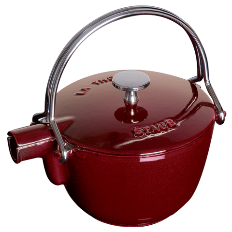 STAUB CAST IRON 1-QUART ROUND TEA KETTLE - GRENADINE