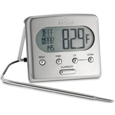 ALL-CLAD STAINLESS STEEL OVEN PROBE THERMOMETER WITH BLUE LCD, SILVER
