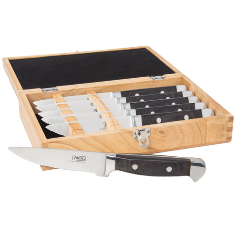 Viking Pakka Wood Steak Knife Set with Rubberwood Box, 6 Piece, Black