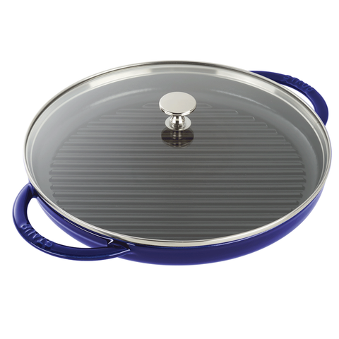 STAUB CAST IRON 10'' ROUND STEAM GRILL - DARK BLUE