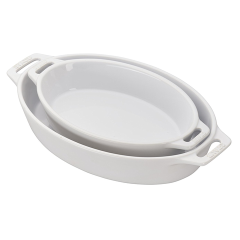 STAUB CERAMIC 2-PIECE OVAL BAKING DISH SET - WHITE
