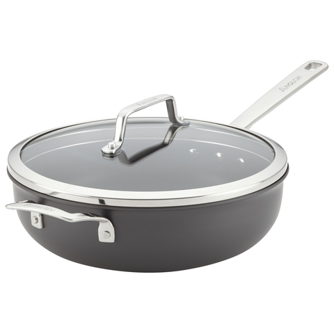 ANOLON 4 -QUART COVERED CHEFS PAN WITH HELPER HANDLE - GRAY