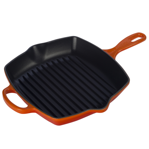 LE CREUSET 10.25'' SIGNATURE SQUARE SKILLET GRILL - FLAME