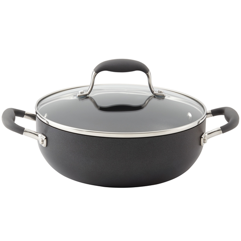 ANOLON 3.5-QUART COVERED CHEFS CASSEROLE, GRAY