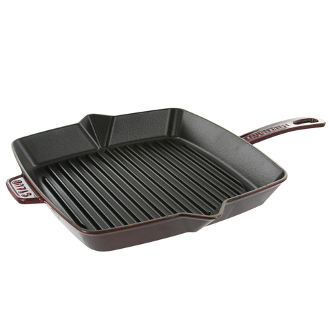 STAUB CAST IRON 10'' SQUARE GRILL PAN - GRENADINE
