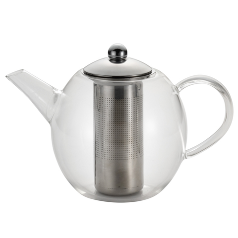 BONJOUR 34-OUNCE ROUND TEAPOT - CLEAR