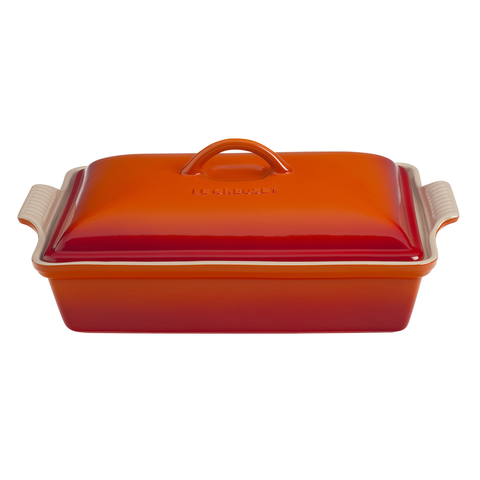 LE CREUSET 12'' X 19'' HERITRAGE COVERED RECTANGULAR CASSEROLE - FLAME