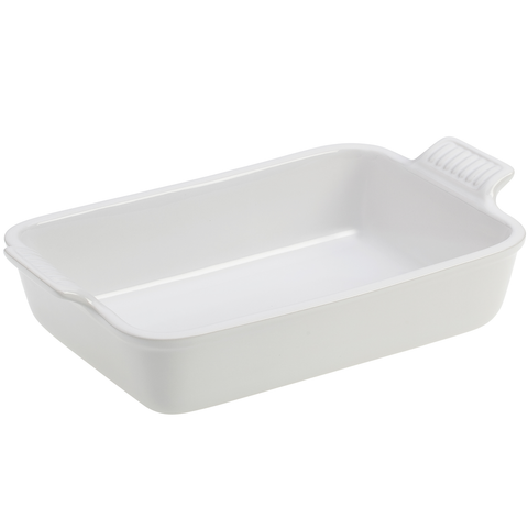 Le Creuset Heritage Stoneware 10-1/2-by-7-Inch Rectangular Dish, White