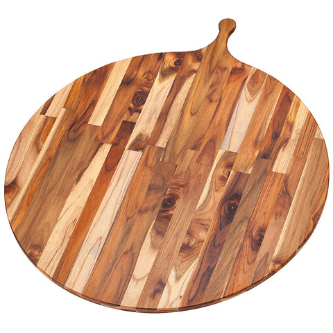 Teakhaus Cutting Board - Large Round Serving Board With Handle (32.5 x .55 in.) - By Teakhaus