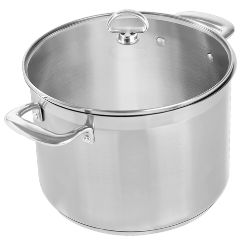 CHANTAL INDUCTION STEEL 8-QUART STOCKPOT WITH GLASS LID