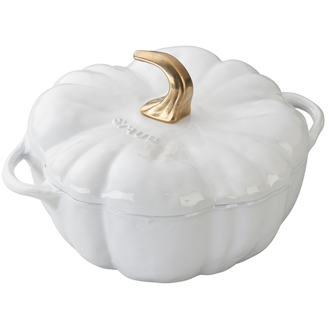 STAUB CAST IRON 3.5-QUART PUMPKIN COCOTTE - WHITE - IMPERFECTIONS