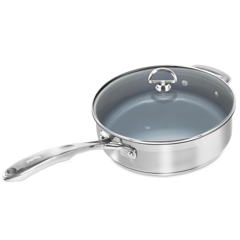 Chantal Induction 21 Steel 3-Quart Saute Skillet W/ Ceramic Coating And Glass Lid